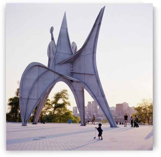 Trois disques sculpture by Calder with cityscape behind Montreal Quebec Canada by Atelier Knox