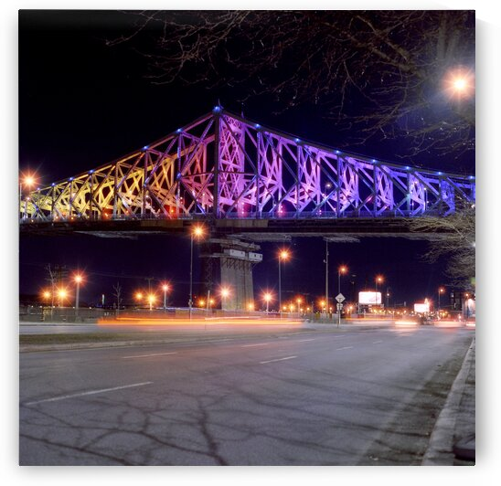 Jacques Cartier bridge illuminated in solidarity during COVID-19 Montreal Quebec Canada by Atelier Knox