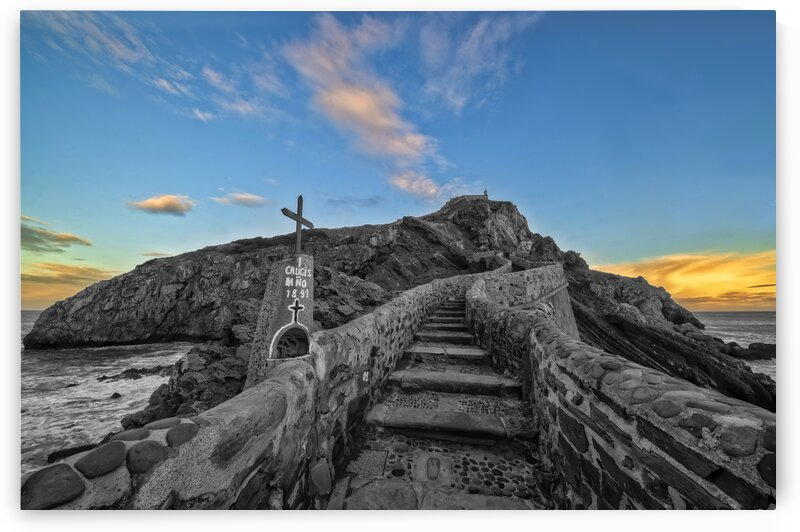 Access by stairs to the hermitage of San Juan de Gaztelugatxe Spain by Vicen photography