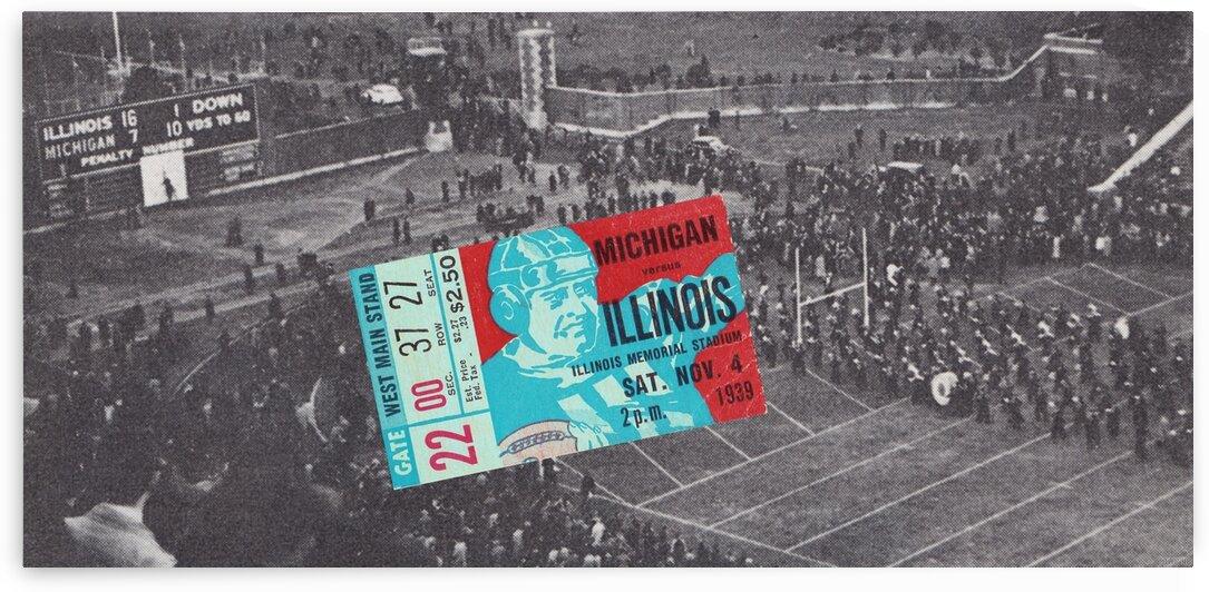 1939 Michigan vs. Illinois Football Ticket Scoreboard Art by Row One Brand
