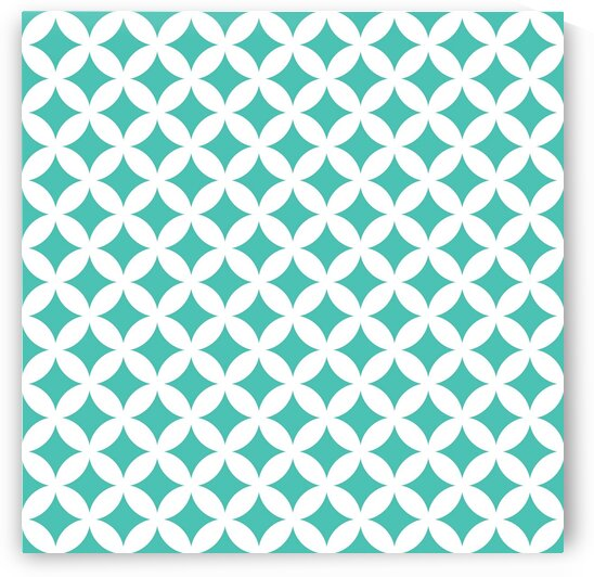 White and Turquoise Retro Circle Pattern by rizu_designs