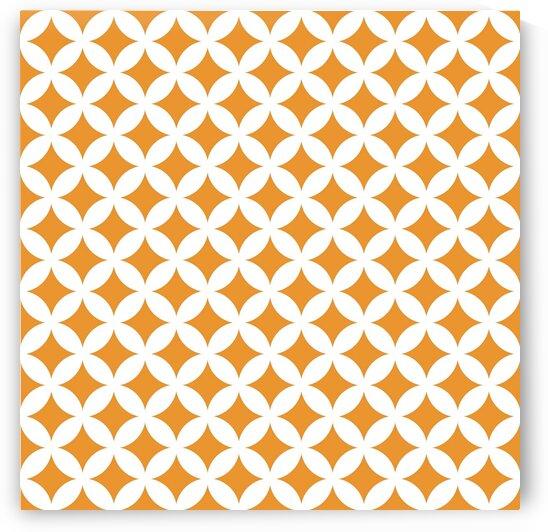 Orange and White Retro Circle Pattern by rizu_designs