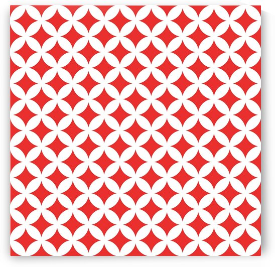 White and Red Retro Circle Pattern by rizu_designs