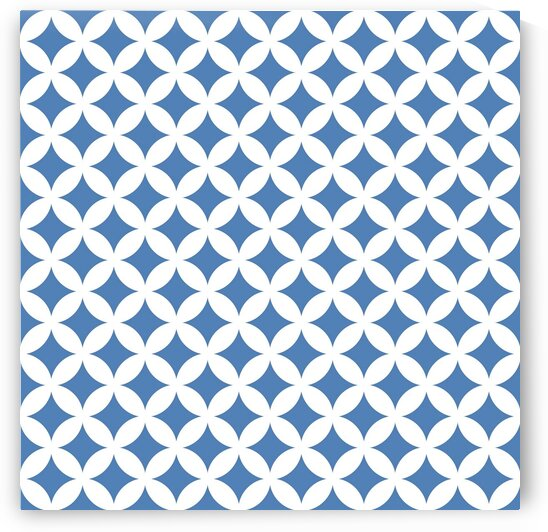 White and Blue Retro Circle Pattern by rizu_designs