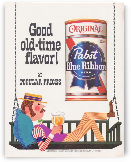 1967 Pabst Blue Ribbon Beer Ad Poster by Row One Brand
