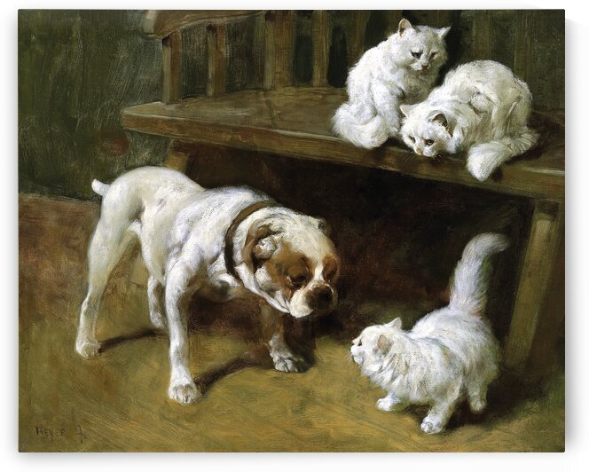 White Dog And Three Cute White Cats_OSG by One Simple Gallery