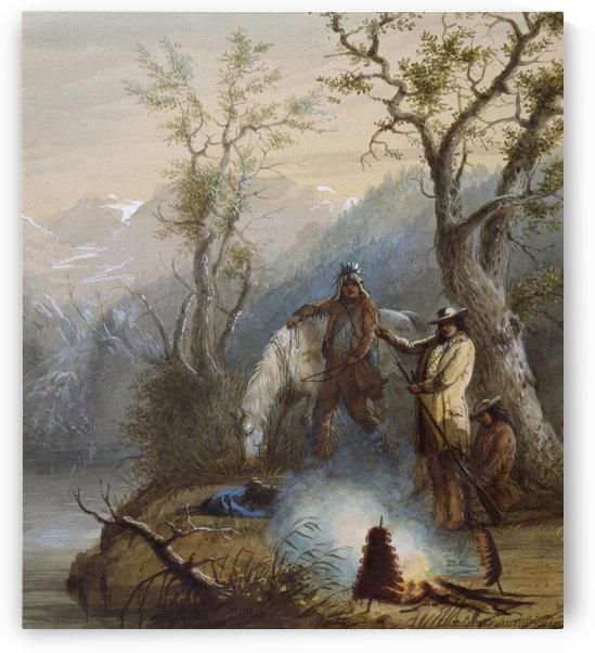 Roasting The Hump Rib by Alfred Jacob Miller