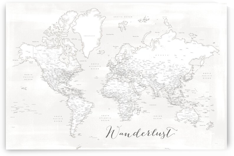 Wanderlust Barely there white and grey detailed world map Maeli White by blursbyai
