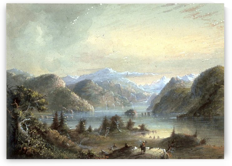 Lake Scene with River Mountain by Alfred Jacob Miller