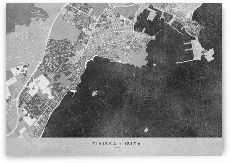 Gray vintage map of Ibiza Spain by blursbyai