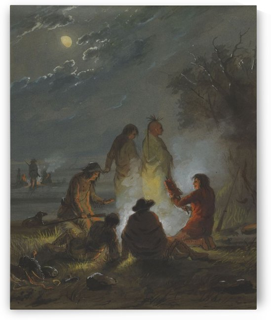 Camp Fire, Preparing the Evening Meal by Alfred Jacob Miller