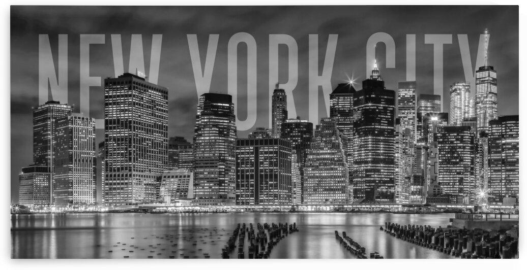 NEW YORK CITY Skyline | Monochrome Panorama by Melanie Viola