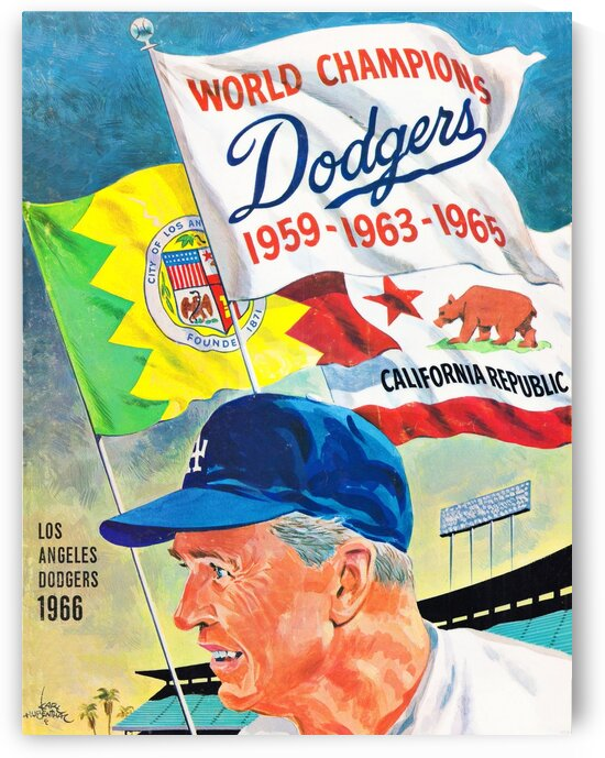 1966 LA Dodgers Poster Artist Karl Hubenthal by Row One Brand