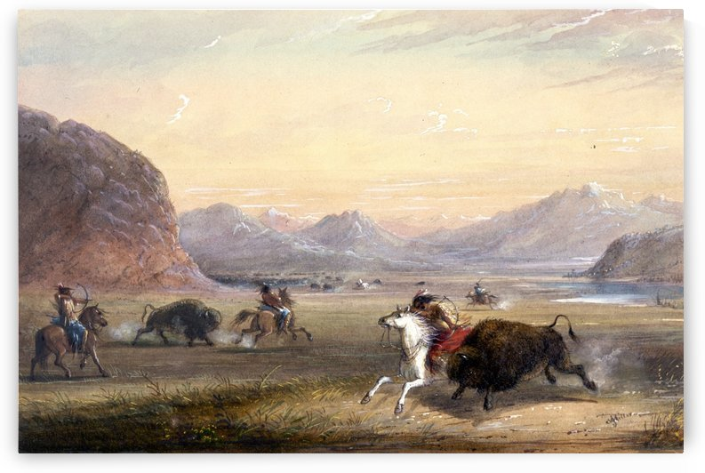 Buffalo Hunting, near Independence Rock by Alfred Jacob Miller