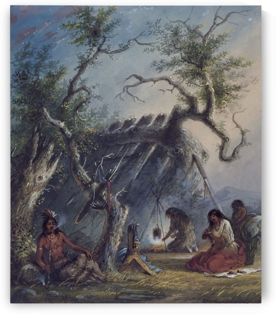 Indian Lodge with figures by Alfred Jacob Miller