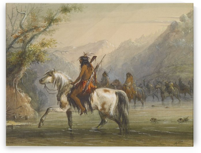 Shoshone Indians - Fording a River by Alfred Jacob Miller