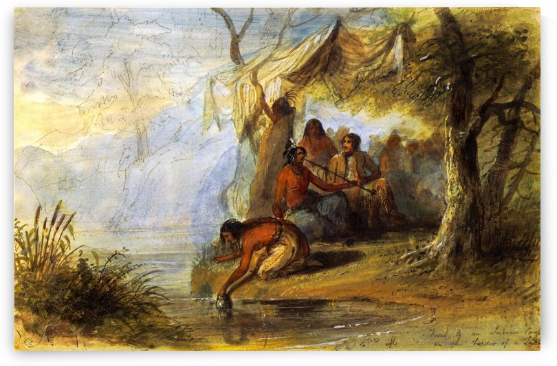Visit to an Indian Camp on the Border of a Lake by Alfred Jacob Miller