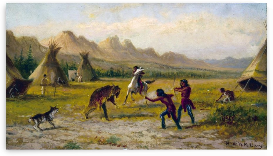 Indian village by Alfred Jacob Miller