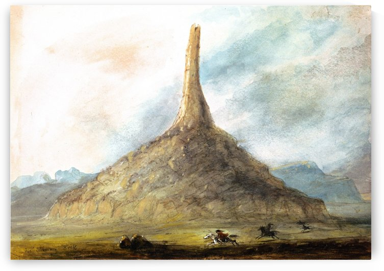 Chimney Rock near Scotts Bluff by Alfred Jacob Miller
