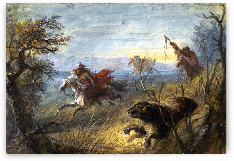 Grizzly Bear Hunt by Alfred Jacob Miller