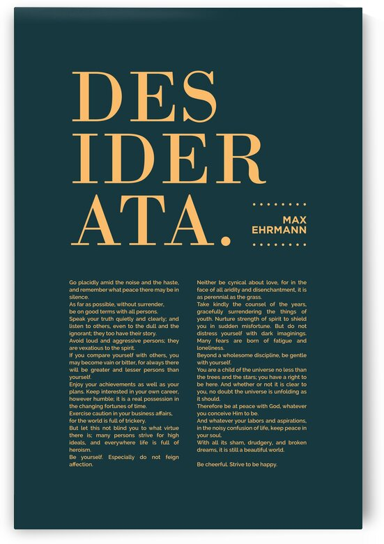 Desiderata - Max Ehrmann - Typographic Print - Literary Poster 9 by Studio Grafiikka