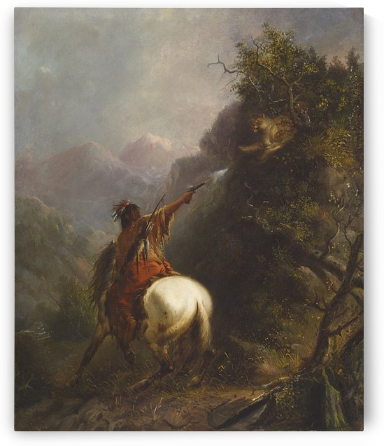 Indian Shooting a Cougar by Alfred Jacob Miller