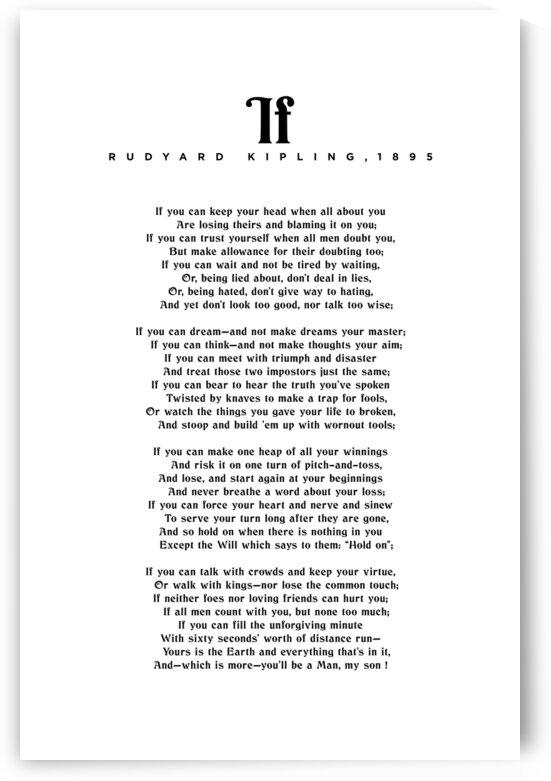 If by Rudyard Kipling - Typographic Print 1 by Studio Grafiikka