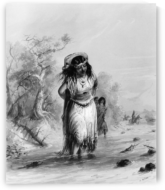 Indian Girl with Papoose Crossing by Alfred Jacob Miller