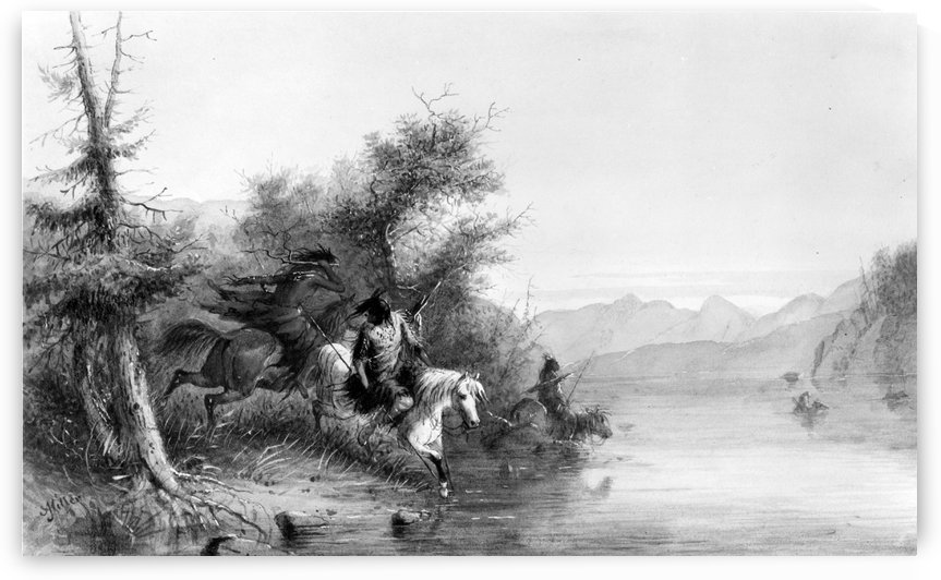 Snake Indians - Fording a River by Alfred Jacob Miller