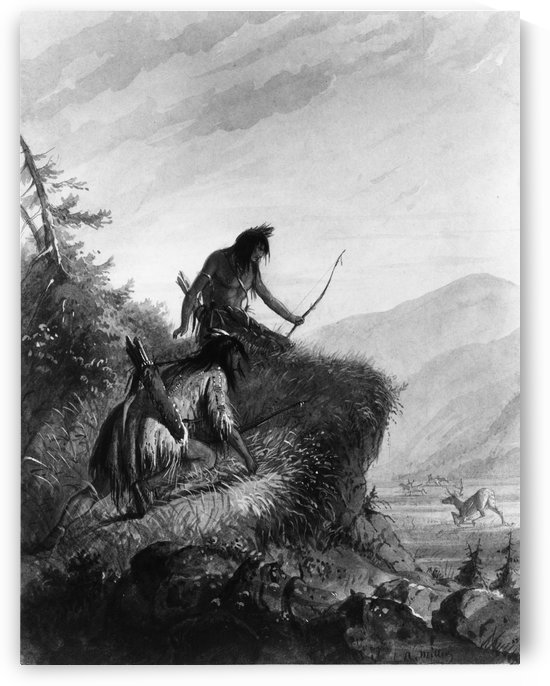 Snake Indians Shooting Elk by Alfred Jacob Miller