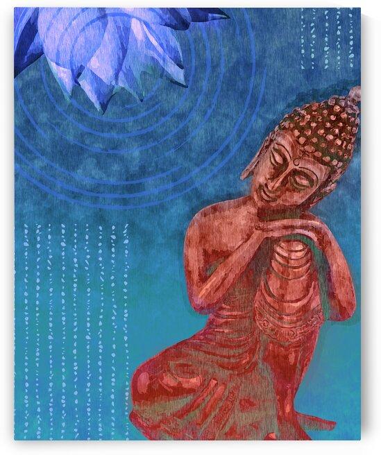 Leaning Buddha - Reclining Buddha -Blue by Studio Grafiikka