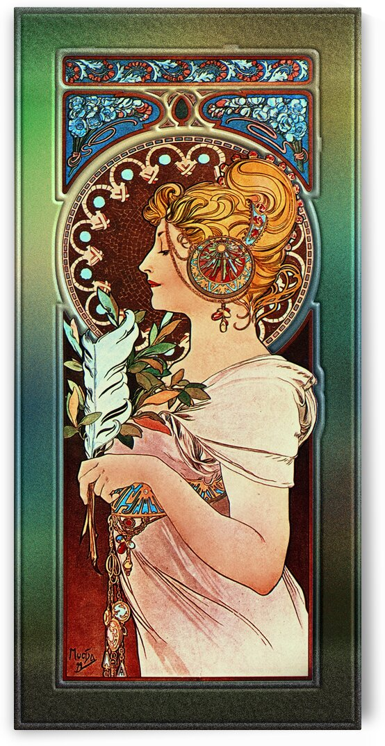 The Pen by Alphonse Mucha Art Nouveau Vintage Old Masters Reproduction by xzendor7