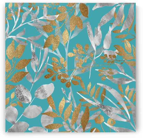 Metallic Leaves On Teal by HH Photography of Florida