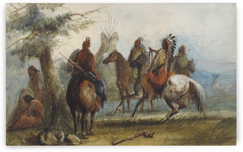 Sioux setting out on an expedition to capture wild horses by Alfred Jacob Miller