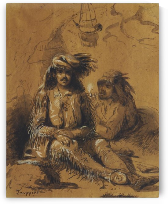Trappers, Auguste and Louis by Alfred Jacob Miller