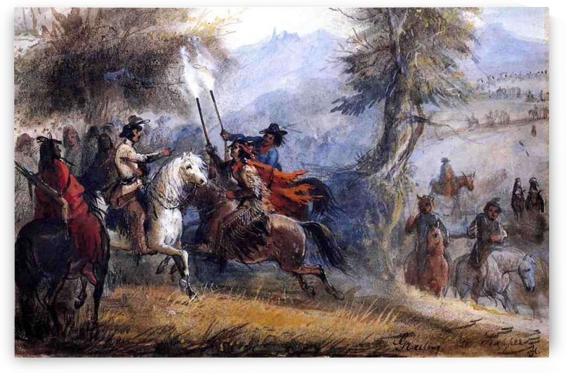 Greeting the trappers by Alfred Jacob Miller