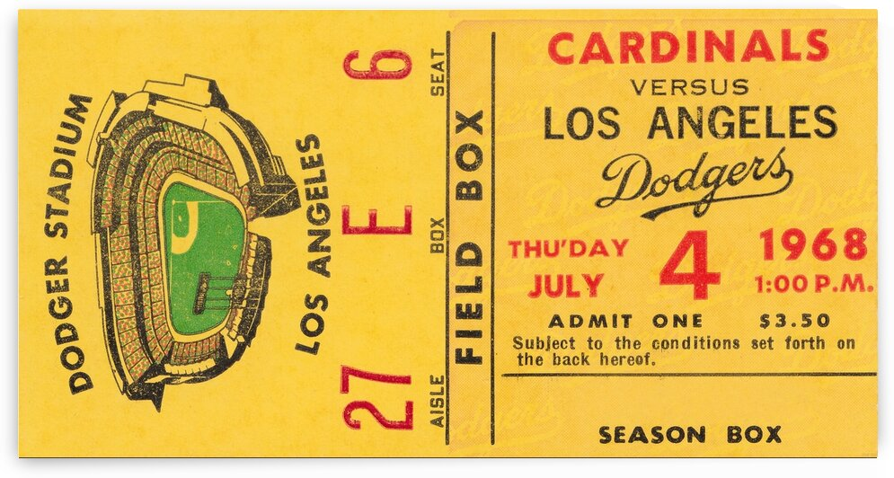 1968 Los Angeles Dodgers vs. Cardinals Ticket Stub Canvas Art by Row One Brand