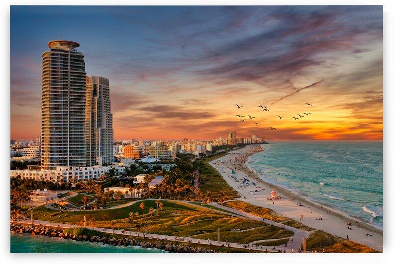Condo Towers on Miami Beach at Dusk LuminarAI edit by Darryl Brooks