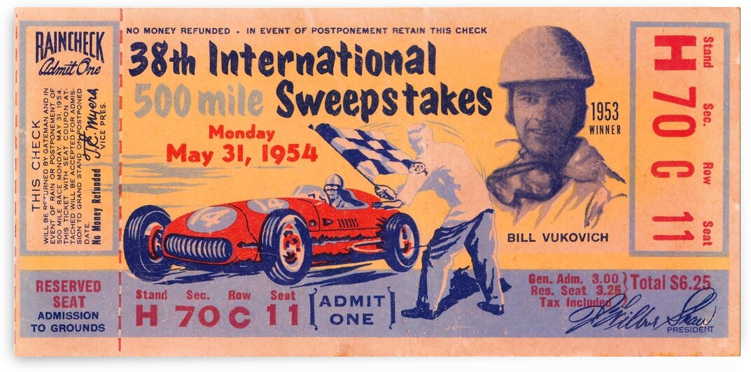 1954 Indianapolis 500 Bill Vukovich Ticket Stub Poster by Row One Brand