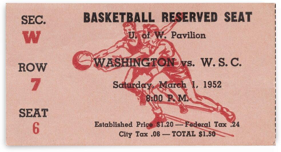 1952 Washington State vs. Washington Basketball Ticket Canvas by Row One Brand