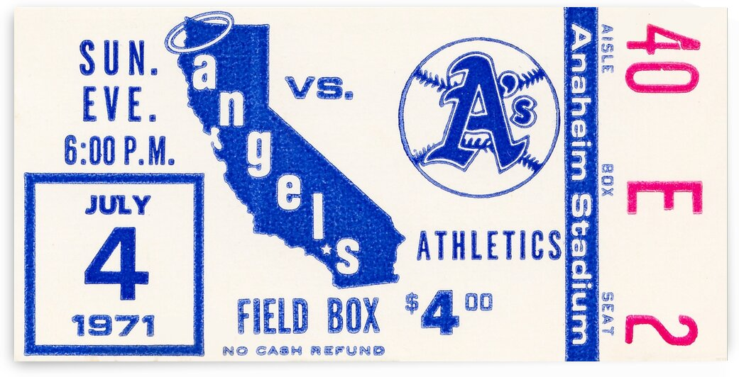1971 California Angels Ticket Stub Canvas by Row One Brand