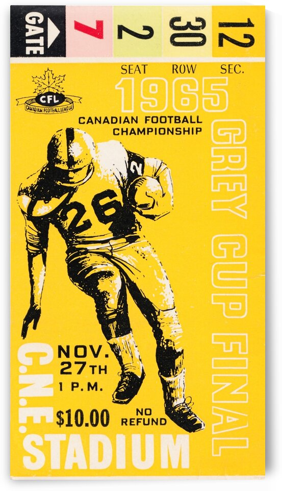 1965 Grey Cup Football Ticket Stub Canvas by Row One Brand