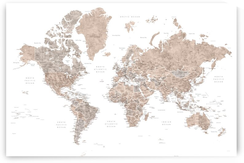 Detailed watercolor world map with cities in neutrals Abey by blursbyai