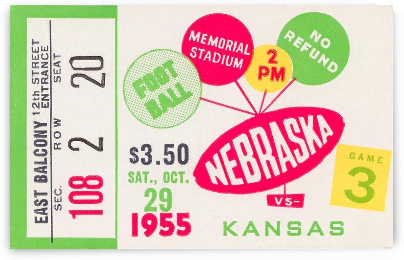 1955 Nebraska Football Ticket Canvas by Row One Brand