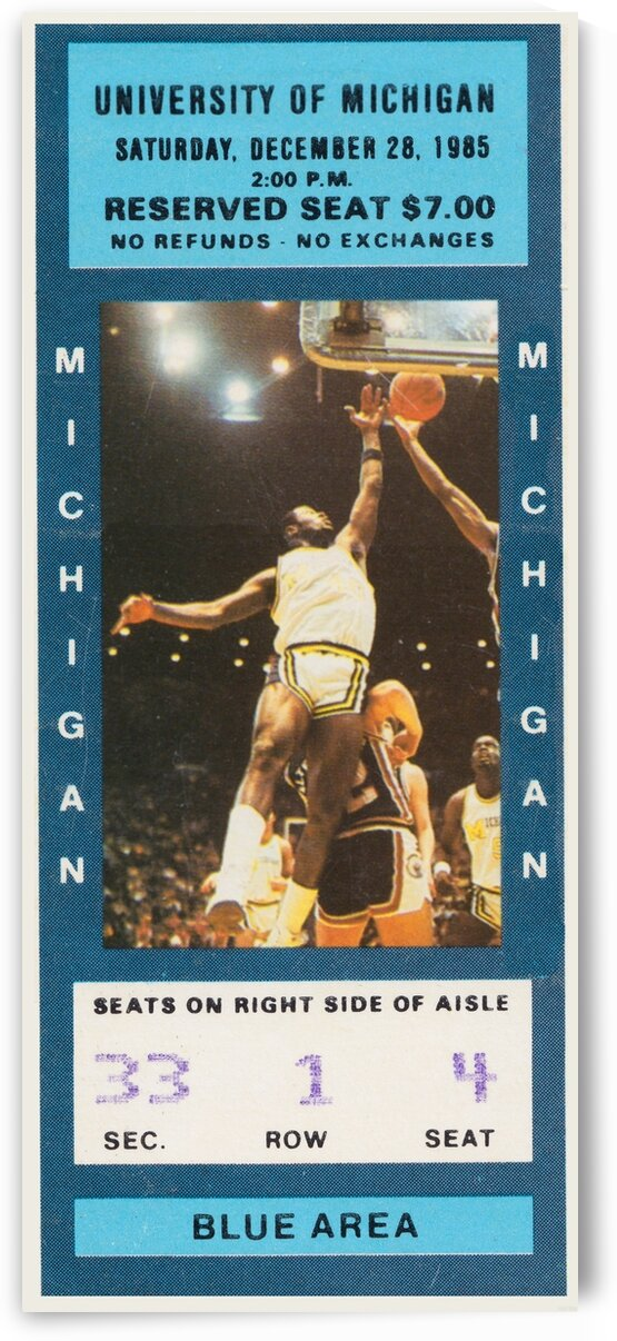 1985 Michigan Basketball Ticket Poster by Row One Brand