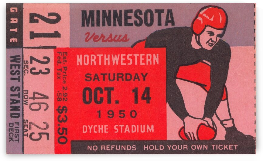 1950 Minnesota vs. Northwestern by Row One Brand