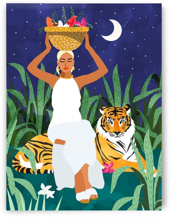 Tiger Camping Wildlife Wild Jungle Illustration Modern Bohemian Black Woman Starry Night Moon by 83 Oranges