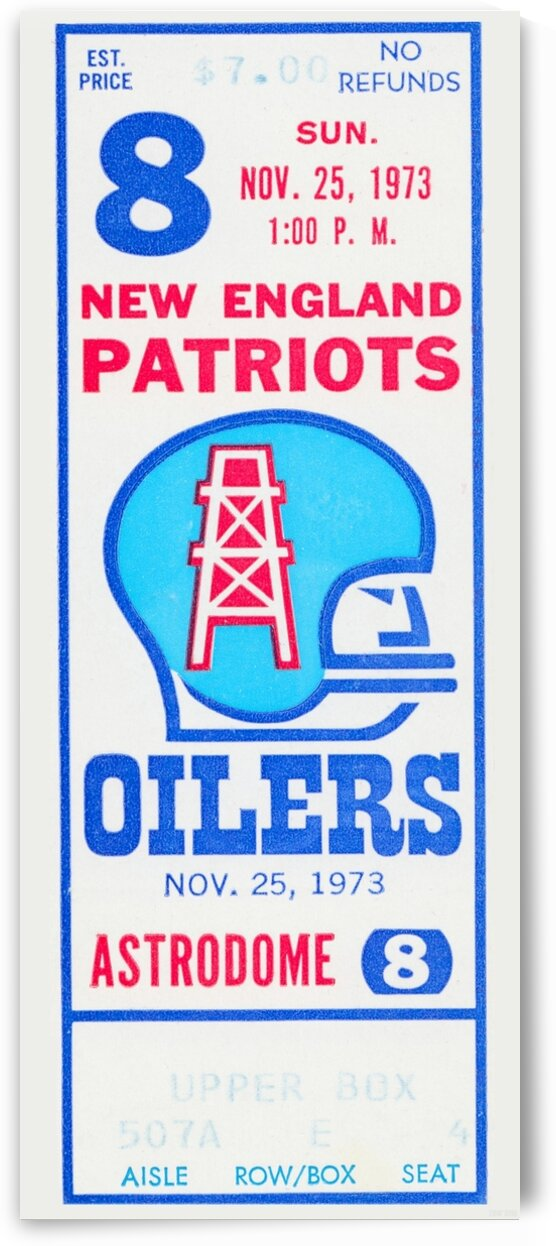 1973 Houston Oilers Football Ticket Canvas by Row One Brand