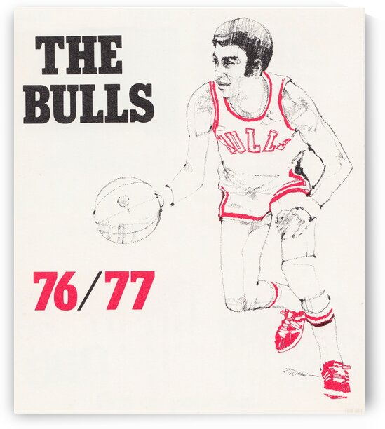 1976 Chicago Bulls Basketball Art by Row One Brand