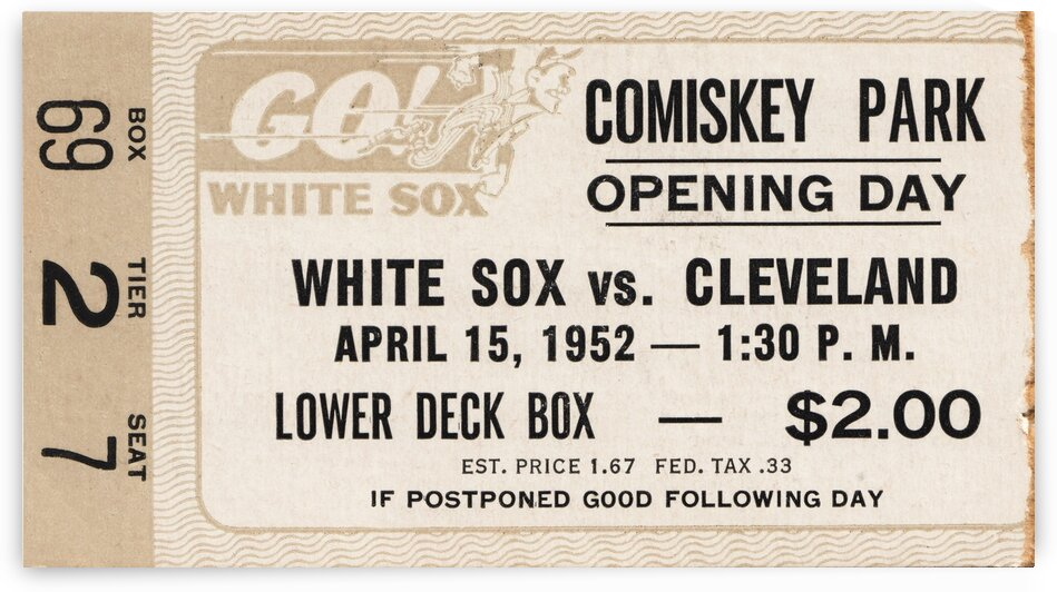 1952 Chicago White Sox Opening Day Ticket Stub Canvas by Row One Brand
